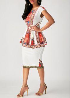 Printed Short Sleeve Peplum Waist Sheath Dress