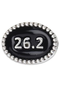 Nomades - Beaded Spacer - 26.2  925 sterling silver spacer with 26.2 in the middle of it surrounded by black enamel.