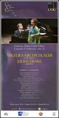 Angelika Kirchschlager, mezzosoprano / Julius Drake, pianoforte. Lunedì 15 febbraio 2016, Teatro Carlo Felice, Genova #Genova #gog1516