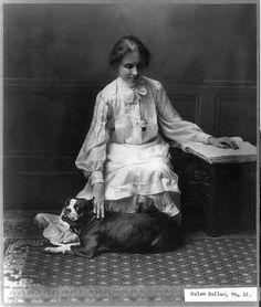 Helen Keller and her Staffordshire terrier