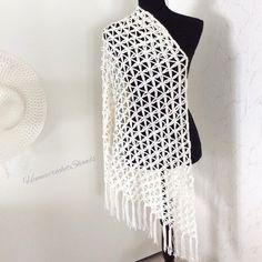 Bridal Shawl, Wedding Shawl, Bridal Lace, Diy Scarf, Lace Scarf, Sweater Knitting Patterns, Knitted Poncho, Cream Colored Wedding Dress, Yohji Yamamoto