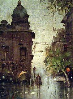 Watercolor, Belgrade by Dusan Djukaric