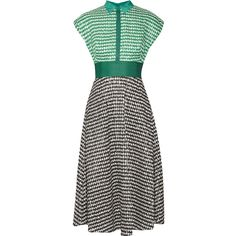 Lela Rose Gingham crinkled-voile midi dress (1,724,600 KRW) ❤ liked on Polyvore featuring dresses, voile dress, gingham dress, lela rose, midi dresses and retro dresses
