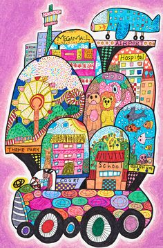 """Toyota Giant Car by Leng Yi Shun: """"  My Toyota Giant is like a moving city. There is a developed infrastructure inside my car, so we can enjoy all the recreational facilities!"""" #Kidsart #ToyotaDreamCar"""