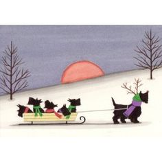 Scottish terrier (scottie) family going for a sled ride / Lynch folk art print