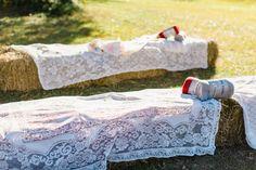 hay bales.   tablecloths.