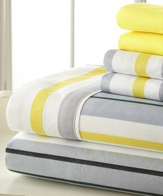 Loving this Gray & Yellow Palazzo Home Luxurious Sheet Set on #zulily! #zulilyfinds