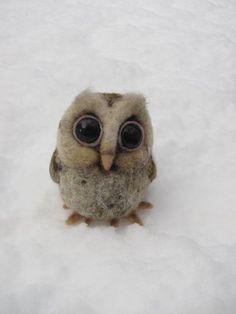 Baby owl needle felted bird by HandmadeByNovember on Etsy, $50.00