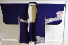 Kimono Dress Japan Vintage haori coat robe Geisha costume used silk KDJM-H0015