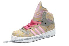 Girl's Adidas X Jeremy Scott Big Tongue Shoes Pink Yellow For Sale