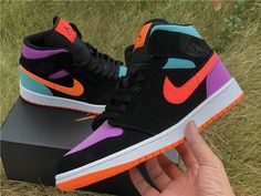 Nike Air Jordan 1 Mid Black Multi-Color Reflective Black Purple Green The clothing culture is fairly old. Dr Shoes, Nike Air Shoes, Hype Shoes, Green Nike Shoes, Nike Socks, Nike Shoes Outlet, Jordan Shoes Girls, Air Jordan Shoes, Girls Shoes