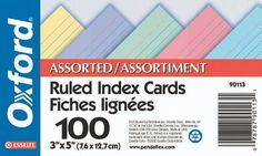 Shop Staples® for Oxford® Ruled Index Cards, 3 x 5, Assorted Colours, 100/Pack and enjoy everyday low prices, and get everything you need for a home office or business. Get free shipping on orders of $45 or more and earn Air Miles® REWARD MIL