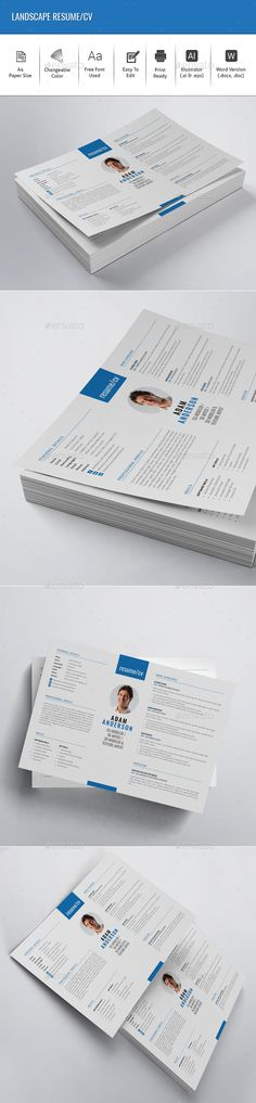 Resume Cv ideas, Resume ideas and Resume cv - landscape resume