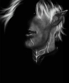 I love this half in shadow portrait of Fenris. Dragon Age 2 ~Fenris by olivegbg on deviantART