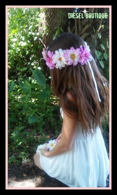 flower crown wild flowers colorful pink multi color festival coachella hippie child adult bridal girl wedding daisy rustic