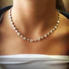 Bridal Earrings Cluster Brides Ideas For 2019 Diamond Necklace Simple, Diamond Tennis Necklace, Diamond Pendant Necklace, Dimond Necklace, Bridal Necklace, Wedding Jewelry, Necklace Designs, Jewelry Necklaces, Jewellery