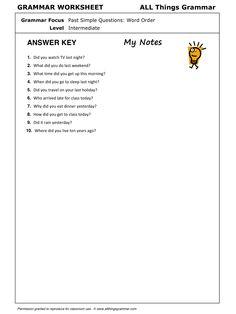 English Grammar Past Simple: Questions - Word Order www.allthingsgrammar.com/word-order.html