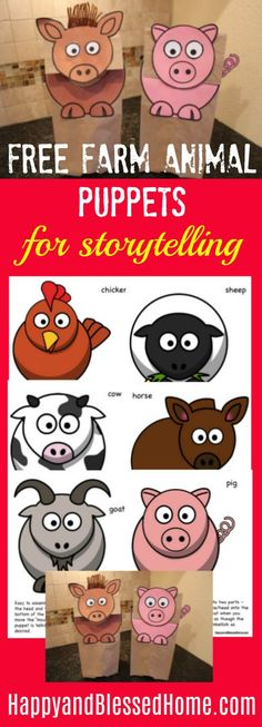 Adorable FREE Farm Animal Puppets for Storytelling with Toddlers or Preschool Aged Children - I love how these puppets make the farm animals in children's stories come to life! Easy DIY idea for crafts or activities for kids.