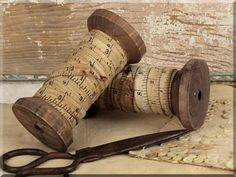 Measuring Tape Ribbon on Wood Spool 5 Inch Tall, 10 Ft of Ribbon. Accent your sewing room or vintage decor with the wooden spools. Wooden Spool Crafts, Wood Spool, Vintage Sewing Notions, Vintage Sewing Machines, Sewing Room Decor, Sewing Rooms, Vintage Crafts, Vintage Decor, Vintage Laundry