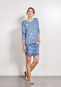 Treat your fair weather wardrobe to this eye catching hush jumper featuring knitted-in scattered stars.