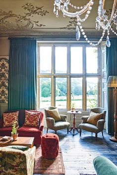 The drawing room at The Pig hotel, Devon, England