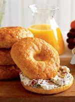 Homemade Bagels...From Country Living...Easy & Quick...Kids Love It....Fresh-made bagels can stand on their own or take a savory turn with a spread of Bacon-Scallion Cream Cheese. Morning pleasures this alluring make it easy to throw back the bedcovers and race to the breakfast table.