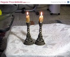 ON SALE Shabat candles holderantique saturday by VintageAnd4All
