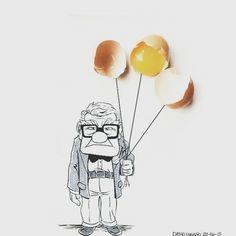 """""""Quanti palloncini ci vogliono per far volare un sogno?"""" #up #carlfredricksen  #buonanotte #sognatori kiss  #eggs #uova #palloncini #pixar #cartoon #sogno #dream #goodnight #moon #dreams #sweet #sky"""