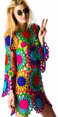 unif psych out dress Hippie Dresses, Boho Dress, Crochet Crafts, Knit Crochet, Sheer Mini Dress, Hippie Crochet, Beachwear For Women, Crochet Fashion, Boho Outfits