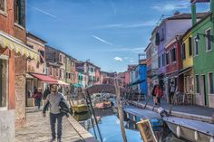 the water channels in italien small town Burano near Venice