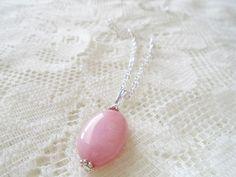 Rhodochrosite silver chain necklace Healing gemstone necklace
