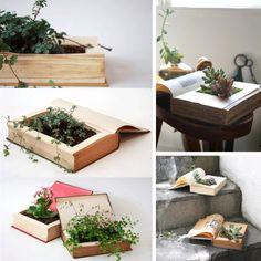 Ingeniosas macetas usando libros