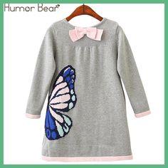 Humor Bear Girls Woolen Sweater 2018 Brands Winter Autumn Girl O-Neck Printed Cartoon Kids Sweater Baby Girls Sweater