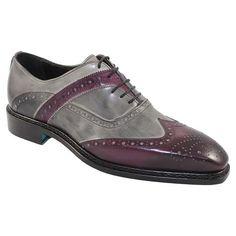Emilio Franco Men's Italian Shoes Purple / Grey Oxfords (EF2032)