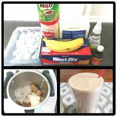 *** HOMEMADE UP & GO *** - 1 banana - 1 weetbix - 150g milk - 50g yoghurt - 1/2 tsp vanilla - 1 tbsp milo - 15g honey - 150g ice Speed 9 for 1 minute 30 seconds.