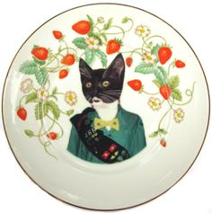 Kitty Scout Portrait  Altered Vintage Plate by BeatUpCreations, $56.00