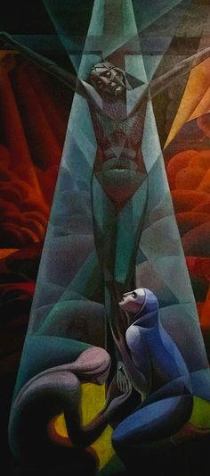 Gerardo Dottori (1884-1977), Crocifissione (Crucifixion), detail, 1928