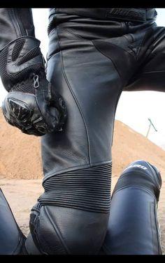 Guys in Gear Motorcycle Wear, Motorcycle Leather, Leather Fashion, Leather Men, Leather Pants, Bike Leathers, Biker Gear, Biker Style, Bikers