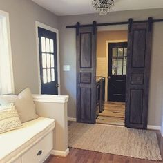 Raised Panel Interior Sliding Hinged Pantry BiFold Doors - can stain any color Door Design, House Design, White Pantry, Sliding Doors, Bifold Barn Doors, Rustic Barn Doors, Sliding Door For Bathroom, Front Doors, Master Bathroom