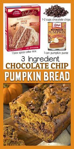 Moist Pumpkin Bread, Pumpkin Chocolate Chip Bread, Pumpkin Cream Cheese Bread, Pumpkin Loaf, Chocolate Cake Mixes, Cake Mix Desserts, Dessert Recipes, Spice Cake Mix Recipes, Cupcake Recipes