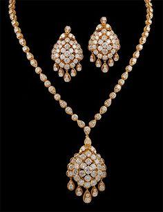 diamond jewelry | VAN CLEEF & ARPELS 18kt. Gold Diamond Necklace & Earrings