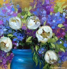 Nancy Medina Art: A Texan's Viewpoint on the European Kiss - The Kiss, White Tulips - Nancy Medina Art Classes and Workshops