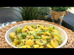 Sałatka ziemniaczana z zielonym ogórkiem i boczkiem - YouTube Shrimp, Meat, Youtube, Food, Essen, Meals, Youtubers, Yemek, Youtube Movies