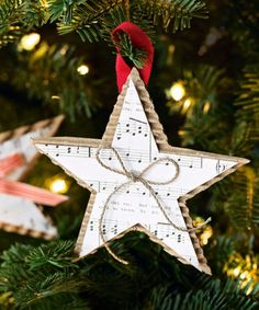 Cut the sheet music of your favorite Christmas carol into the form of a star — made secure with a sturdy backdrop, like cardboard.