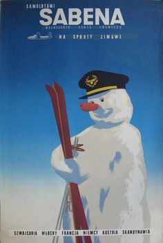 Sabena snowman with skis 25x38.5in/63.5x98cm PosterMuseum.com by Philip Williams Posters NYC