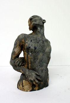 masculin-25-14-8cm.jpg - Sculpture,  14x28x8 cm ©2011 par Emilie Lacroix-Mathieu -            buste homme terre cuite