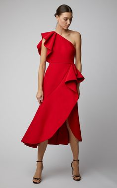 One-Shoulder Ruffle Dress by ELIE SAAB Now Available on Moda Operandi