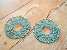 M E R M A I D  Teal Blue Turquoise Lace Hand Painted Earrings by handmadebyfirefli