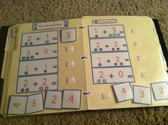"for free printables. Print, glue on to folder, laminate, and add velcro for repetitive work tasks. ""Inspired by Evan"" Autism Resources & Ideas 1st Grade Math, Kindergarten Math, Teaching Math, Teaching Ideas, File Folder Activities, File Folder Games, File Folders, Autism Activities, Autism Resources"