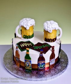 Beer Festival Cake Beer Birthday Cake For Men, Birthday Cakes For Men, 40th Cake, Dad Cake, Cupcakes, Cupcake Cakes, Liquor Cake, Cake Design For Men, Alcohol Cake